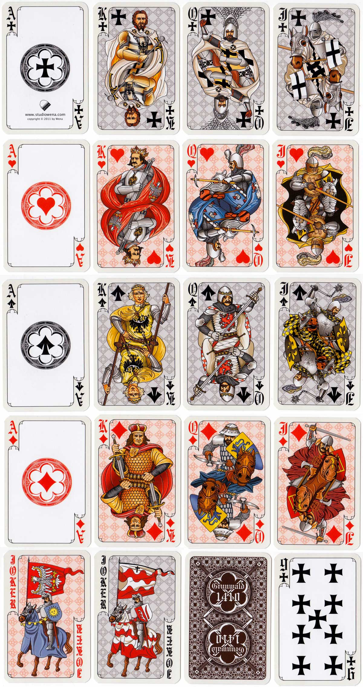 playing cards commemorating the Battle of Grunwald designed and published by Studio Wena, 2011