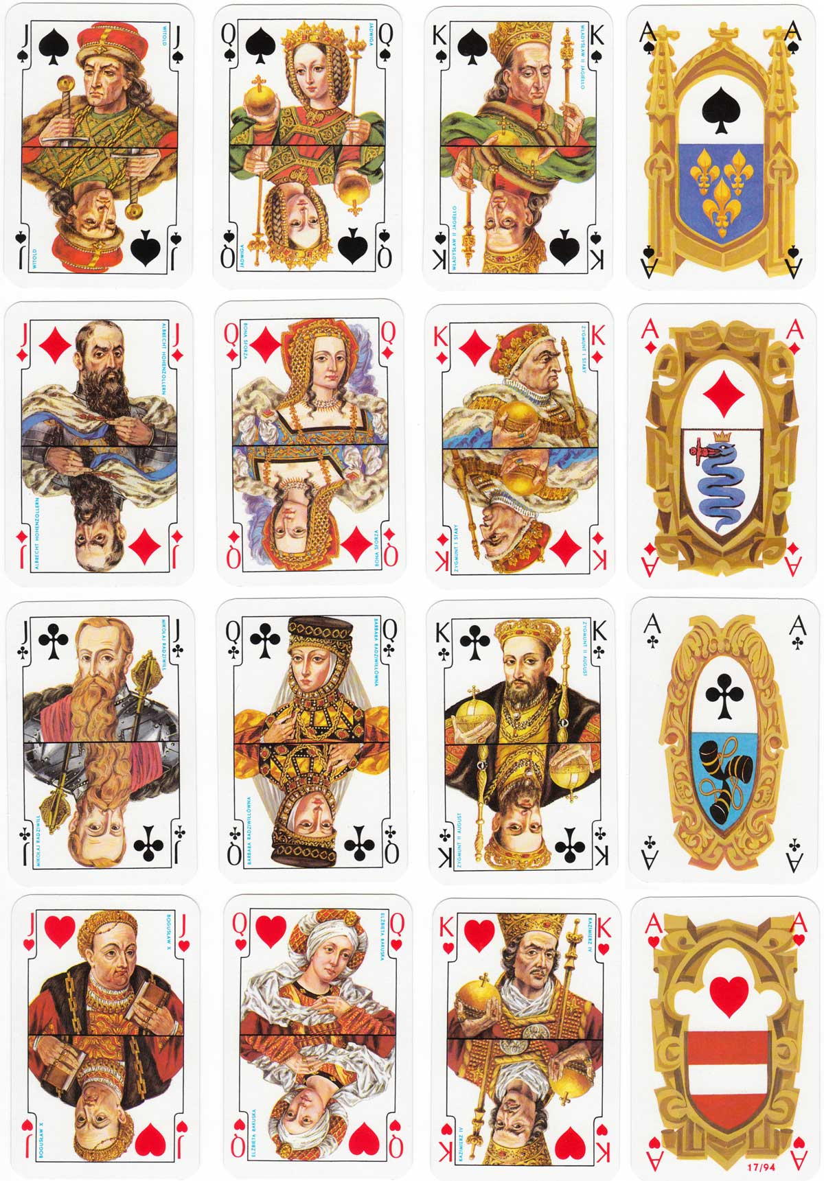 Jagiellonskie playing cards based on the historical paintings of Jan Matejko