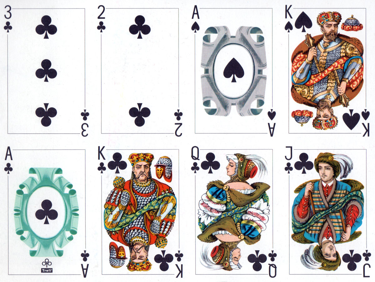 "cards from uncut sheet of ""Starościanka"" playing cards manufactured by KZWP-Trefl (Poland), 2003"