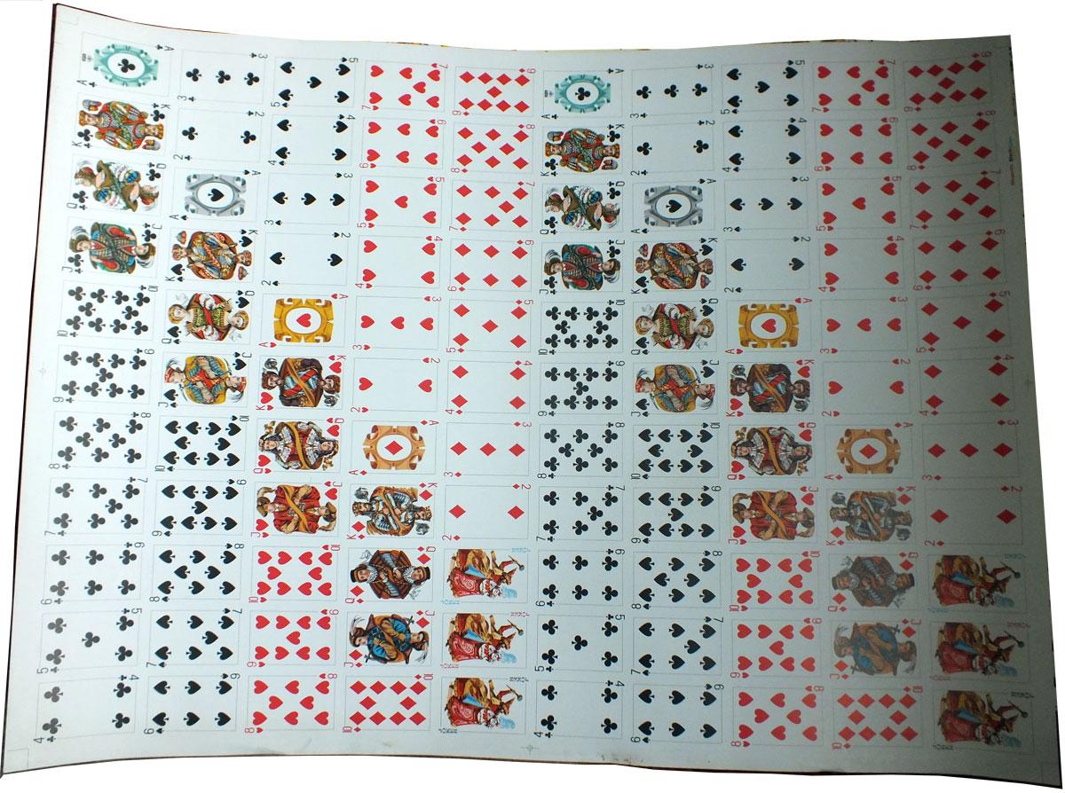 "uncut sheet of ""Starościanka"" playing cards manufactured by KZWP-Trefl (Poland), 2003"