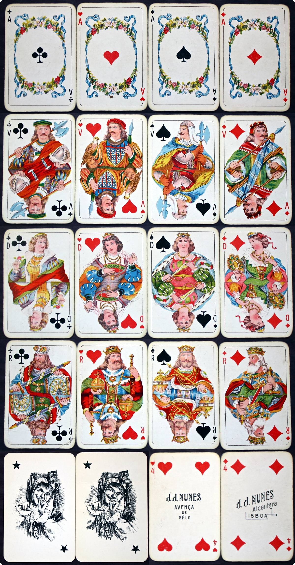 Whist No.32 playing cards made in Portugal by J. J. Nunes, c.1930s