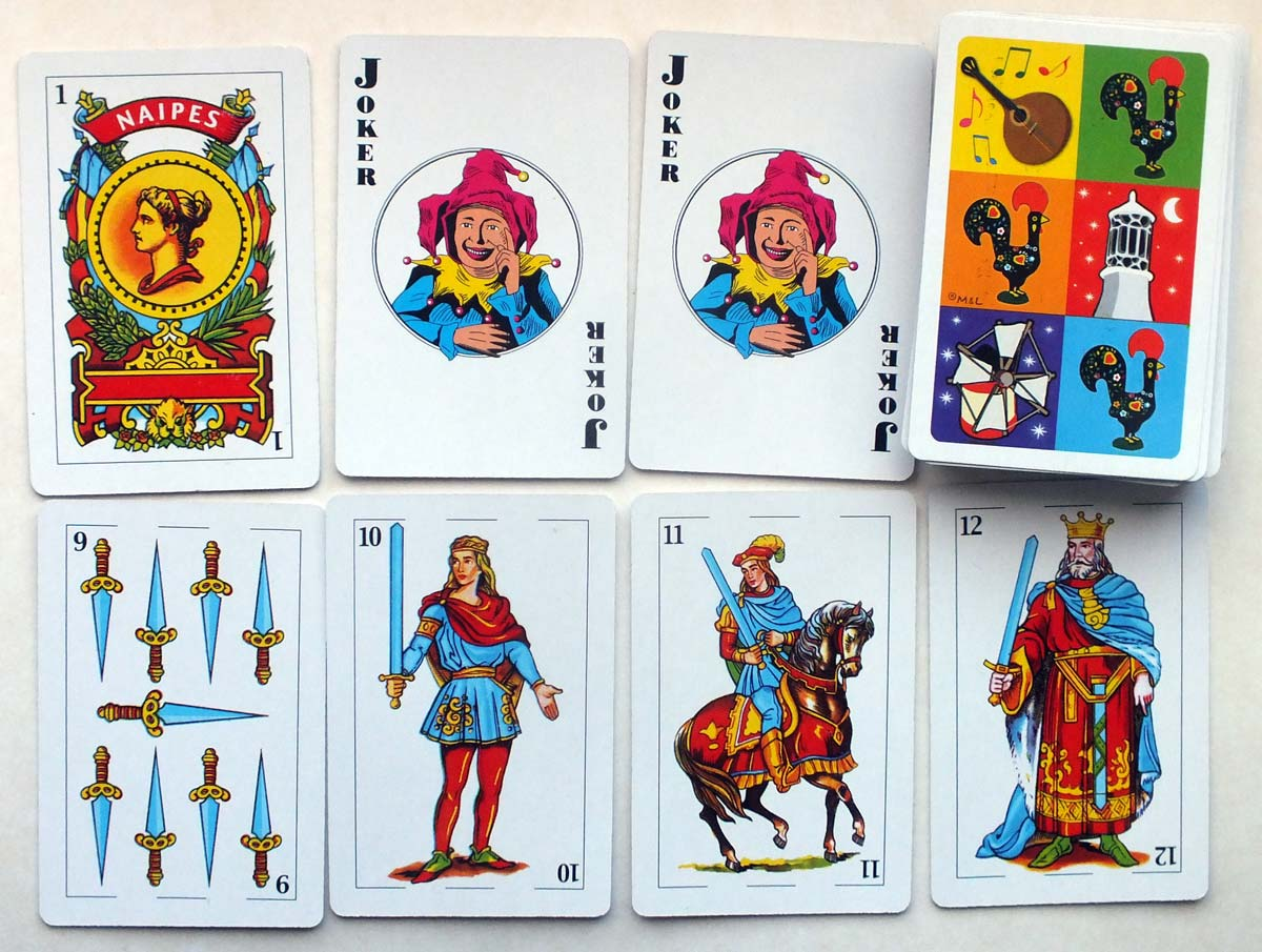 Spanish-suited souvenir of Portugal playing cards from a tourist shop, 2019