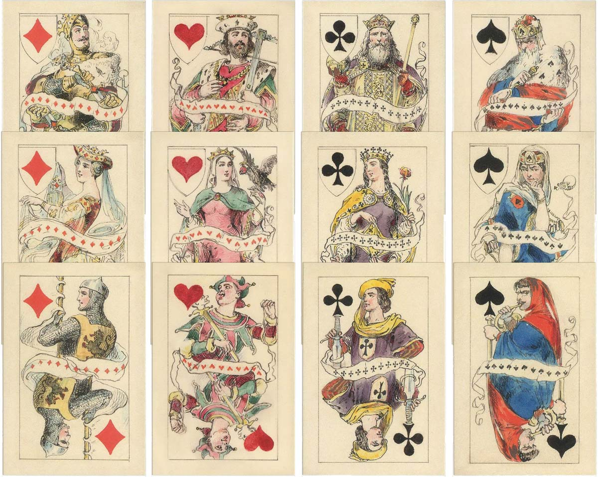 Playing cards designed by A I Charlemagne, 1862