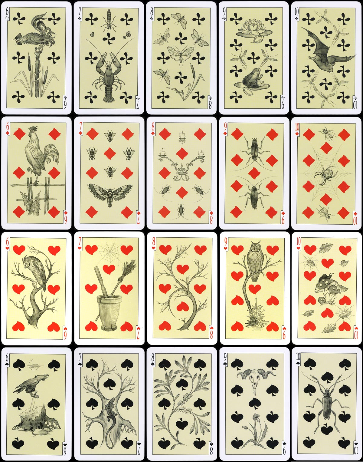 East-Slavonic Mythology playing cards, designed by Aleksey Orleansky, 1st edition numeral cards