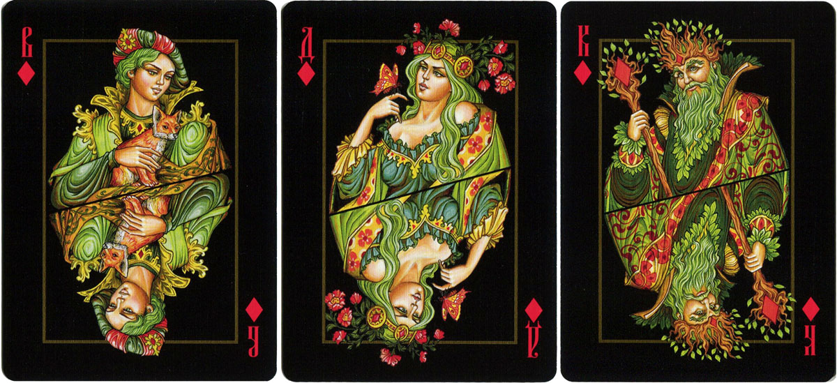 The Four Worlds playing cards by artist Aleksey Zhiryakov in the stylistic traditions of Palekh, 2018