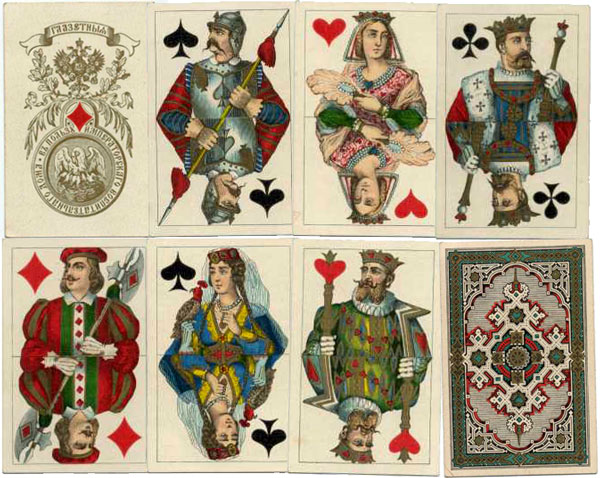cards with pseudo-medieval costumes manufactured by the Imperial Playing Card Factory, St Petersburg, c.1870