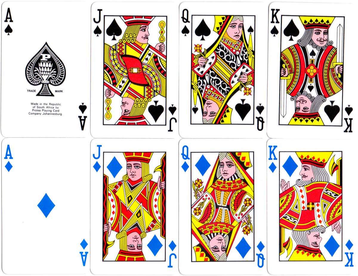 Bridge size deck with non-standard suit colours, blue diamonds & green clubs, manufactured by Protea Playing Card Company