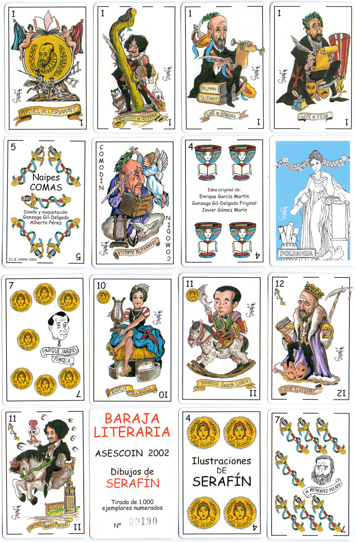 """Baraja Literaria"" Spanish pack with cartoons by Serafín, published by Asescoin and manufactured by Naipes Comas, 2002"