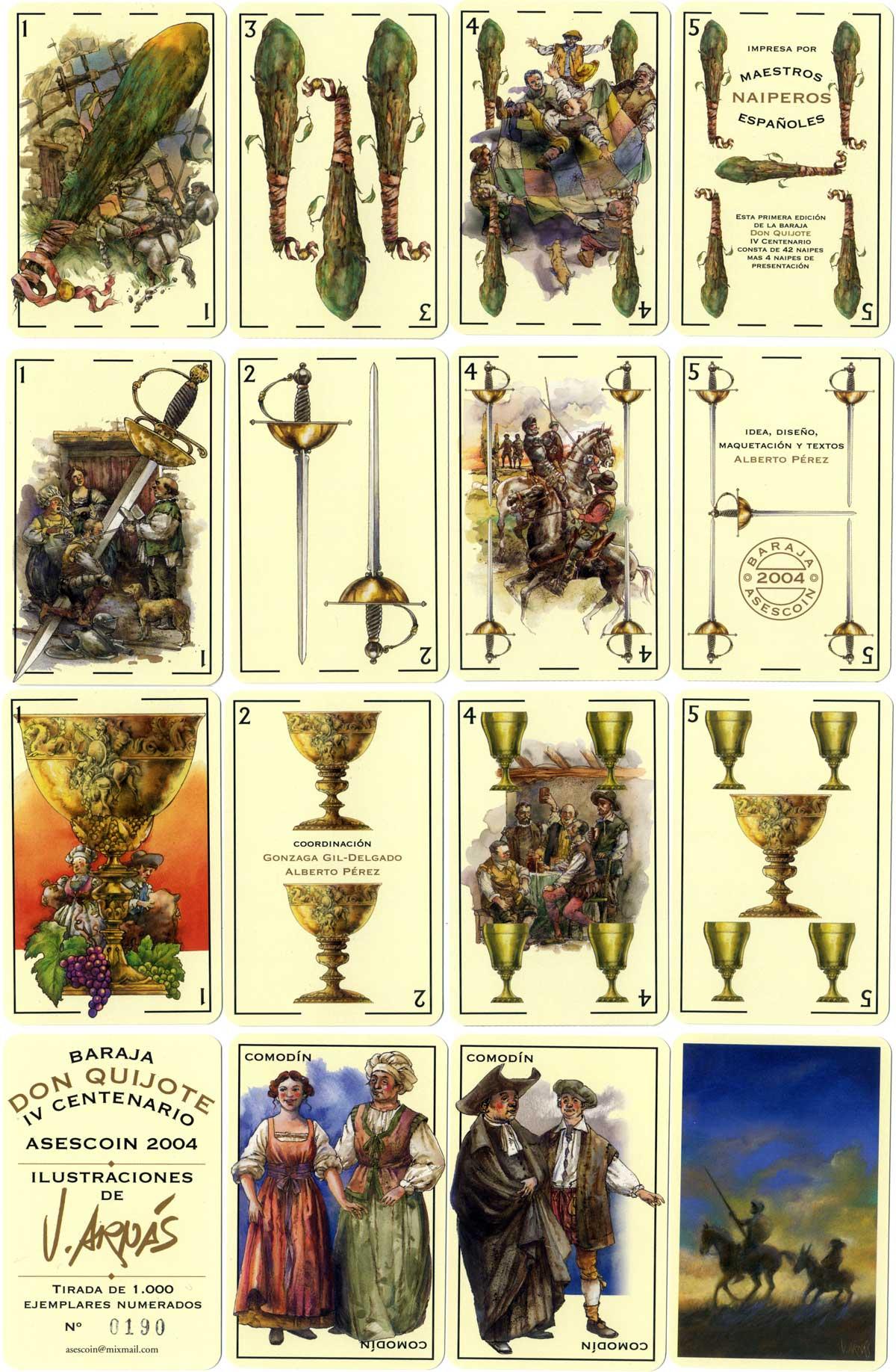 Baraja IV Centenario Don Quijote printed by Maestros Naiperos Españoles for ASESCOIN, 2004