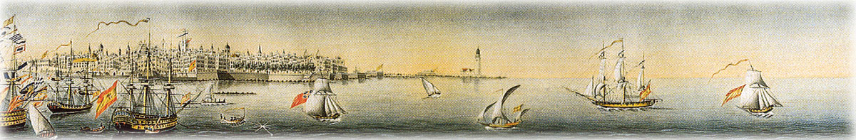 View of the bay and port of Cádiz