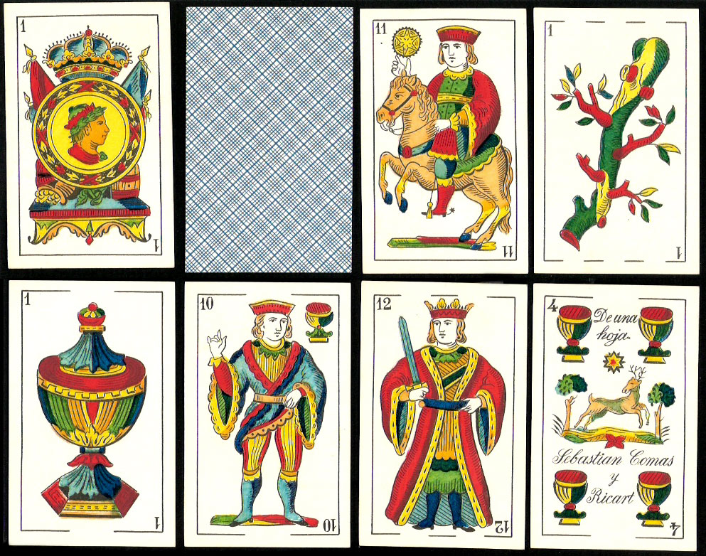 standard Catalan pattern deck manufactured by Sebastian Comas y Ricart in Barcelona c.1892