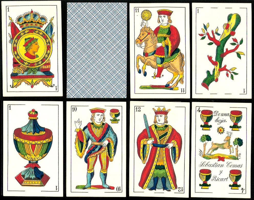 standard Catalan pattern deck manufactured by Sebastian Comas y Ricart in Barcelona c.1892