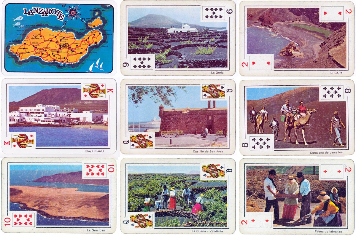 Souvenir of Lanzarote playing cards by NEGSA (Naipes Comas), c.1966