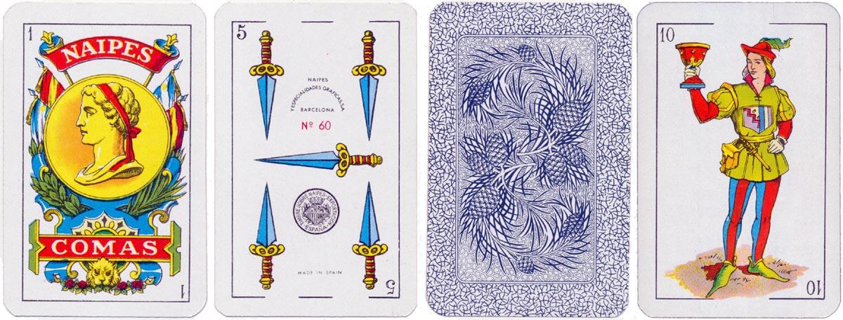 Naipes Comas No.60 standard Castilian pattern, c.1965