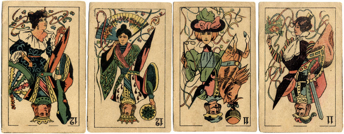 Double-ended Spanish-suited conjuring cards, c.1890