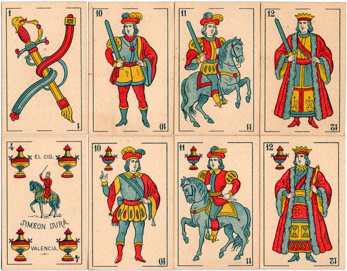 Standard 'El Cid' playing cards manufactured by Simeon Durá, Valencia, Spain, c.1880