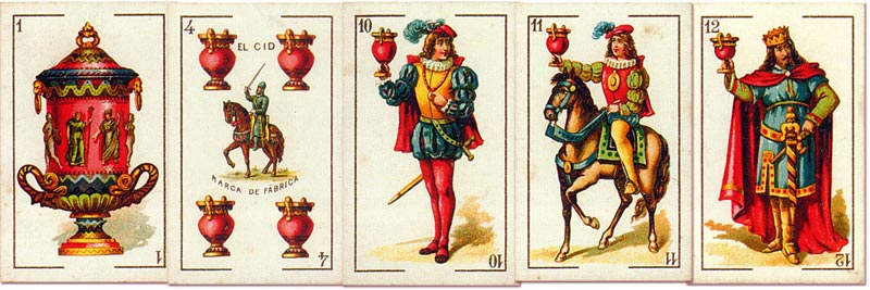 'El Cid' fantasy playing cards designed by E. Pastor and manufactured by Simeon Durá, Valencia, Spain, c.1875