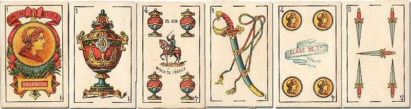Standard 'El Cid' playing cards manufactured by Simeon Durá, Valencia, Spain, c.1900