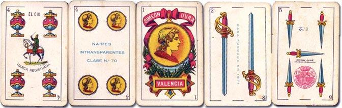 Standard 'El Cid' playing cards manufactured by Simeon Durá, Valencia, Spain, c.1920
