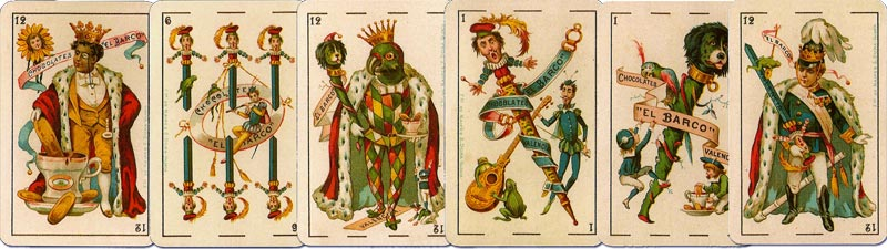 Advertising playing Cards for Chocolates El Barco designed by E. Pastor, Valencia, Spain, c.1895
