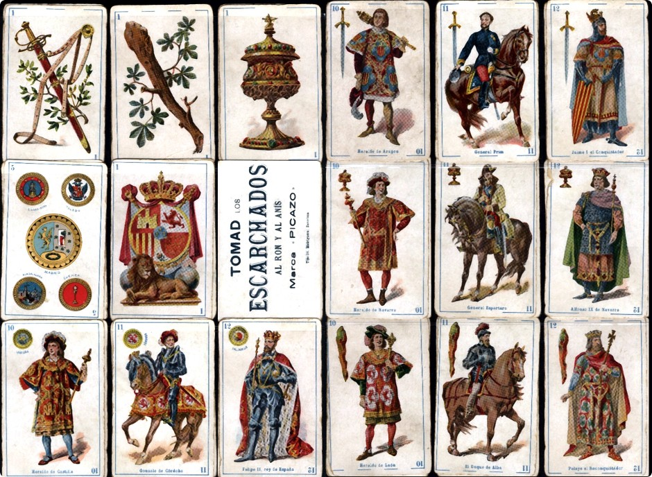 Spanish Historical Characters playing cards, with advertising on the backs, printed by Litografía Madriguera (Barcelona), c.1896