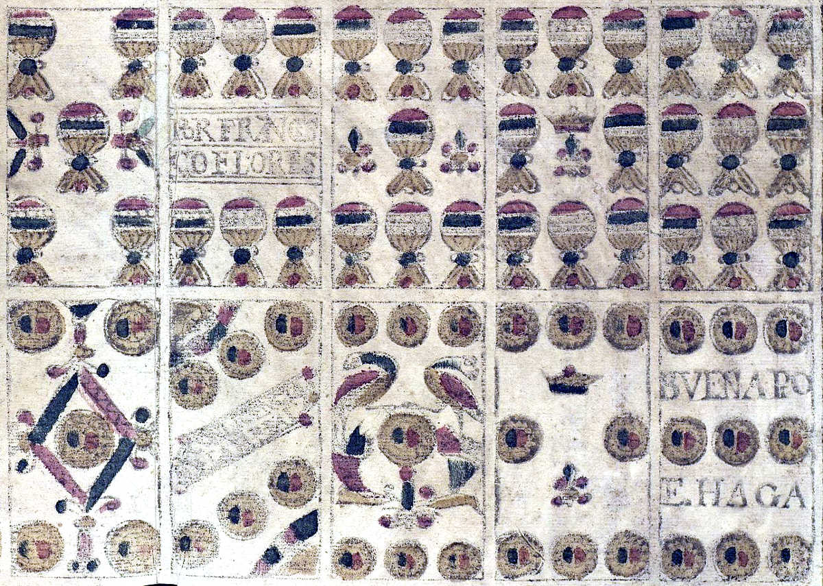 Archaic sixteenth century Spanish playing cards by Francisco Flores