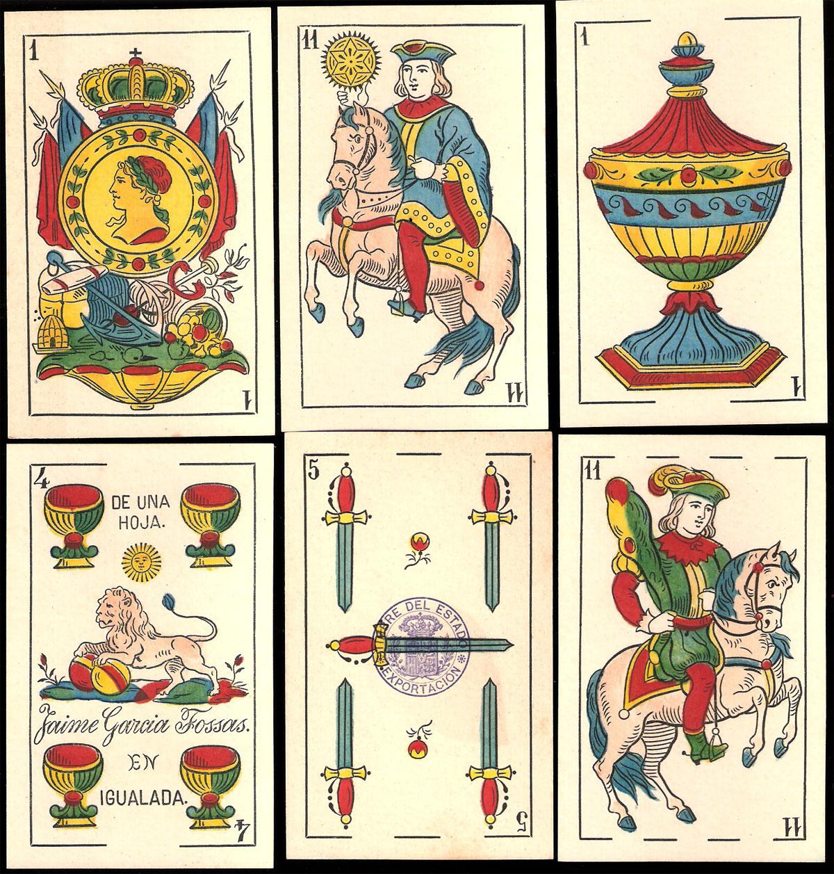 standard Catalan pattern deck manufactured by Jaime Garcia Fossas in Igualada (Barcelona), c.1904