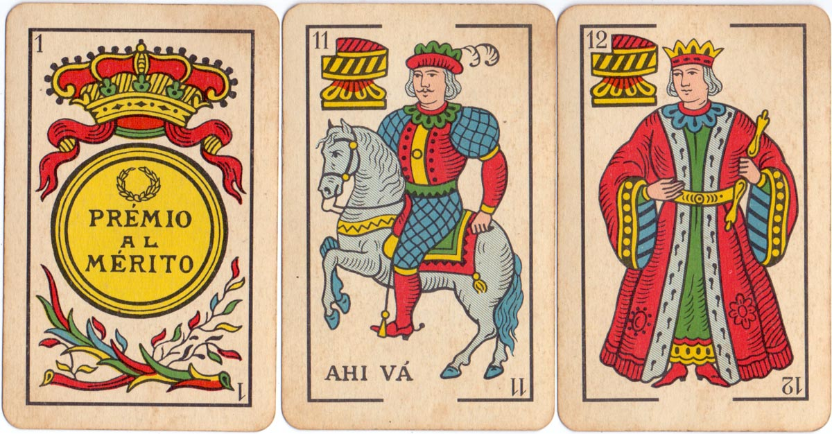 'El Caballo' brand (No.5-P) playing-cards manufactured in Spain by Heraclio Fournier S.A. especially for the Estanco de Naipes del Perú, c.1960