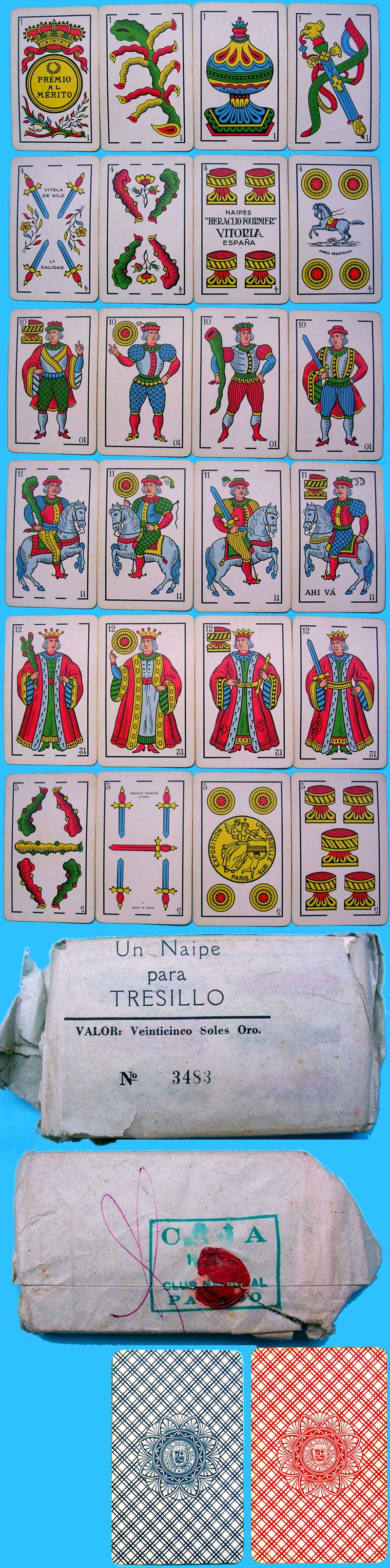 Playing-cards for export to Peru, made by Heraclio Fournier (Vitoria) Spain