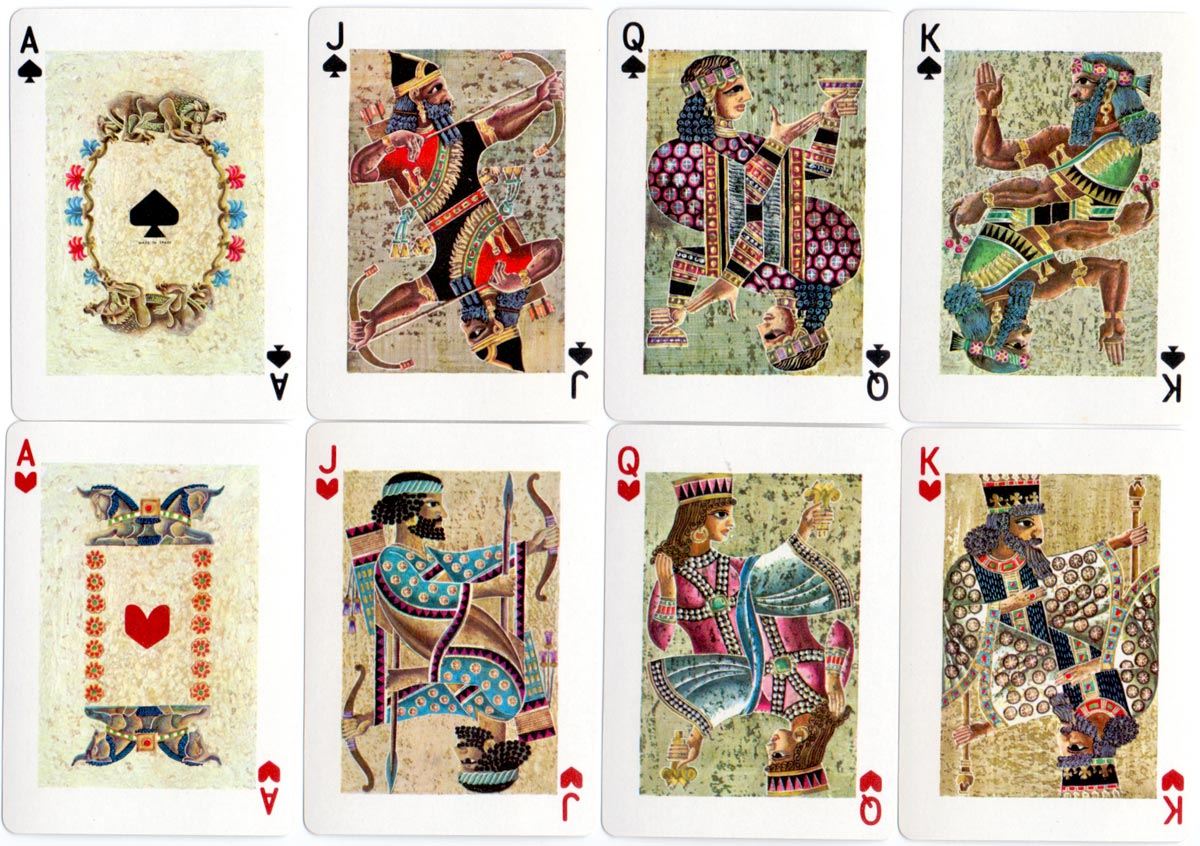 Ancient Civilisations playing cards designed by Celedonio Perellón,  produced by Heraclio Fournier, 1973