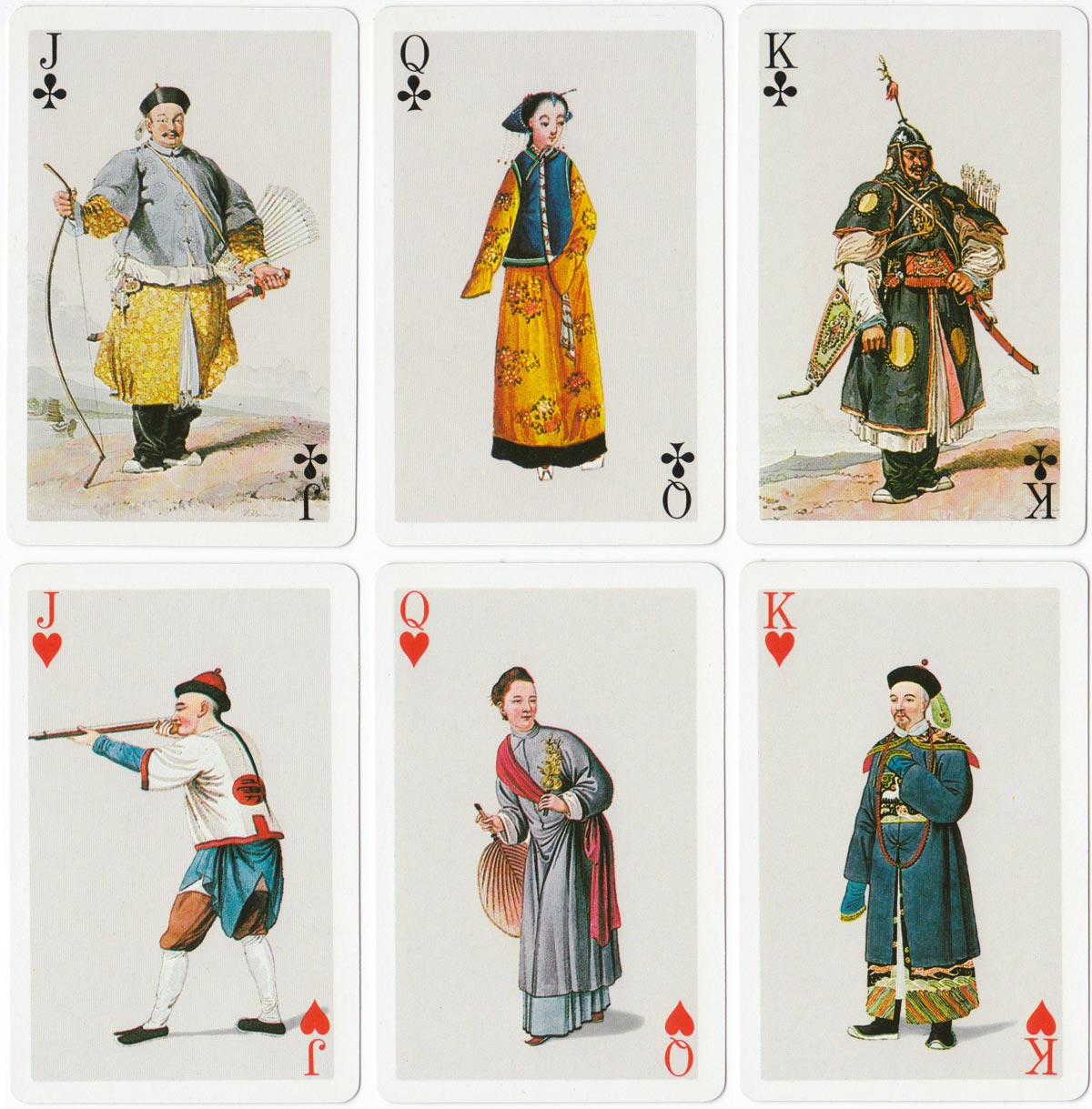 Chinese Costumes playing cards, published by Fournier, 1984