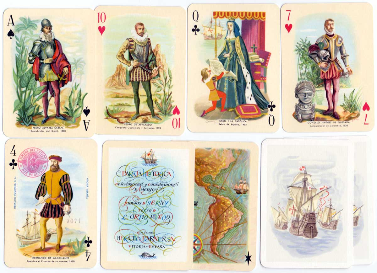 "Historical Playing Cards published by Heraclio Fournier, first edition 1952, designs by Ricardo Summers ""Serny"""