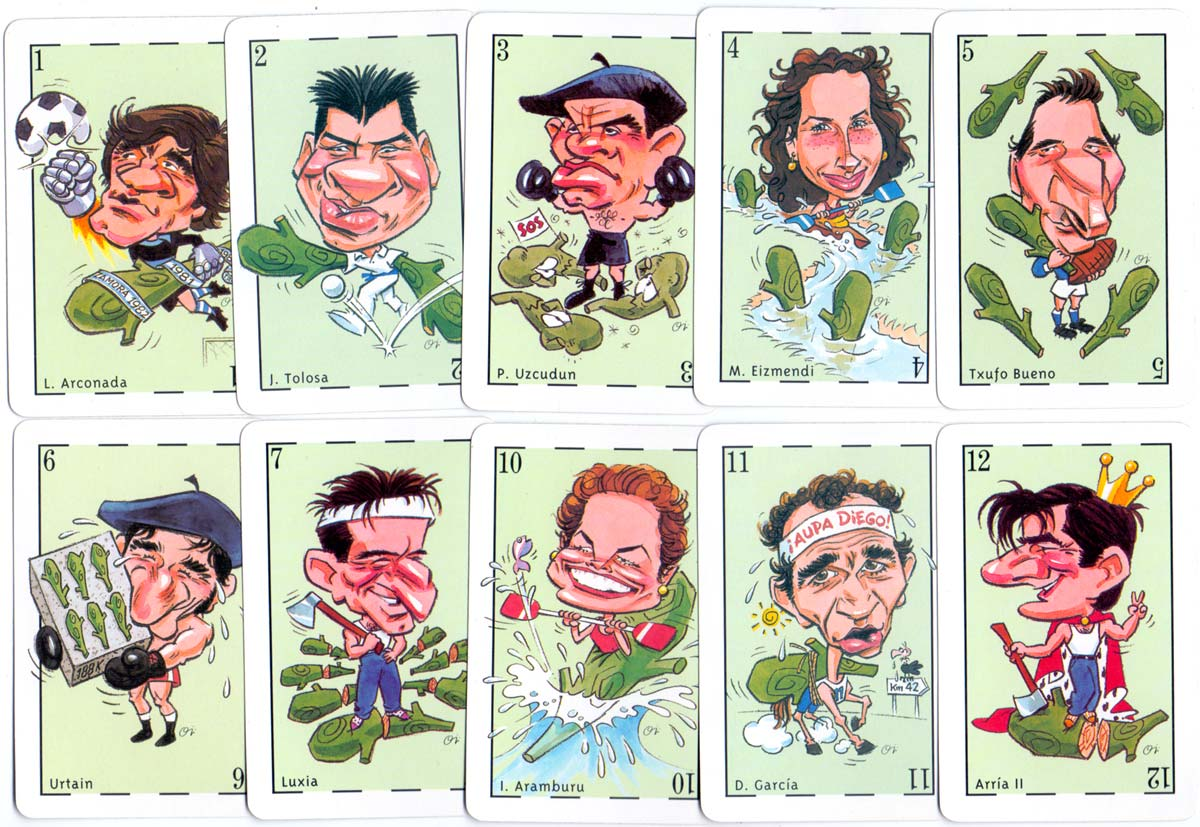 Guipuzcoa's best athletes of the twentieth century, playing cards sponsored by El Diario Vasco and Euskaltel, manufactured by Heraclio Fournier, 1999