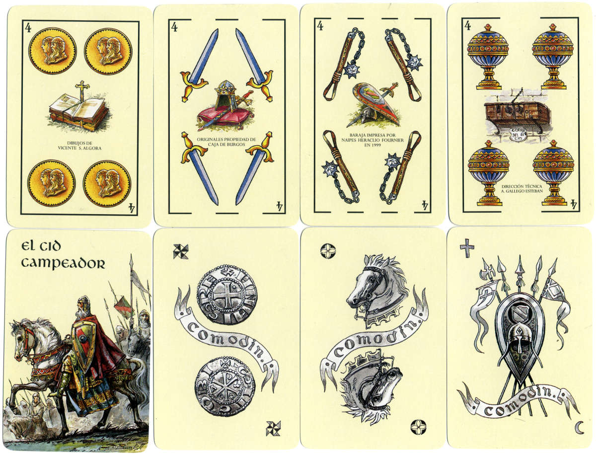 'El Cid Campeador' playing cards manufactured by Heraclio Fournier in 1999 for Caja de Burgos