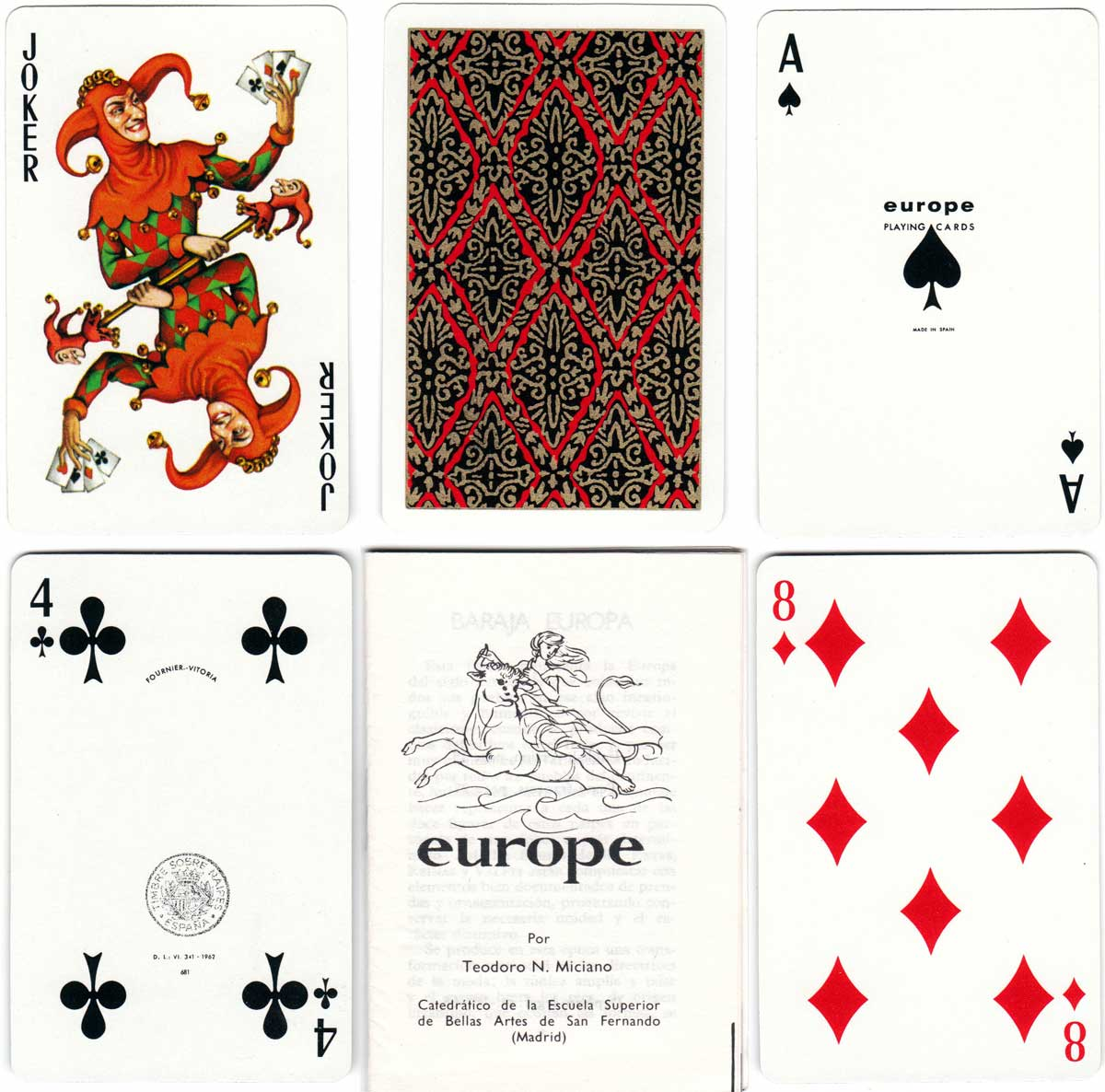 """Europe"" designed by Teodoro N. Miciano and printed by Heraclio Fournier in 1962"