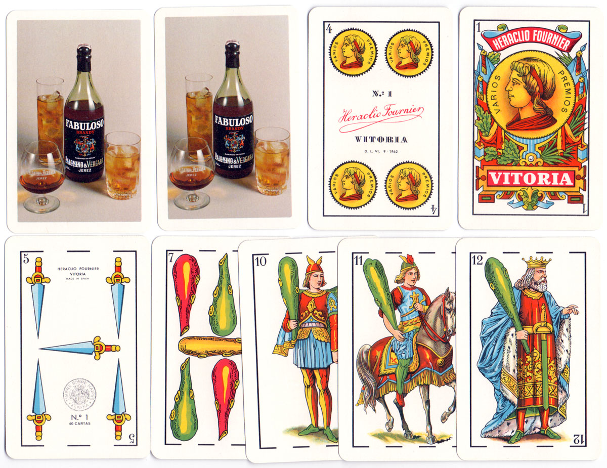 No.1 Spanish Castilian style playing cards made in Spain by Naipes Heraclio Fournier for Palomino & Vergara Jerez Fabuloso, 1970