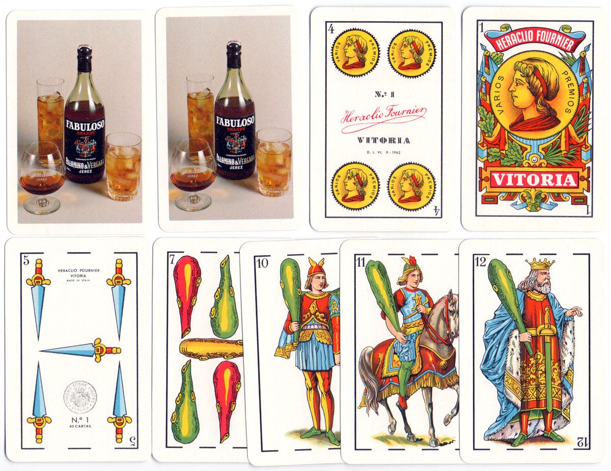 No.1 Spanish Castilian style playing cards made in Spain by Naipes Heraclio Fournier for Palomino & Vergara Jerez Fabuloso, 1970
