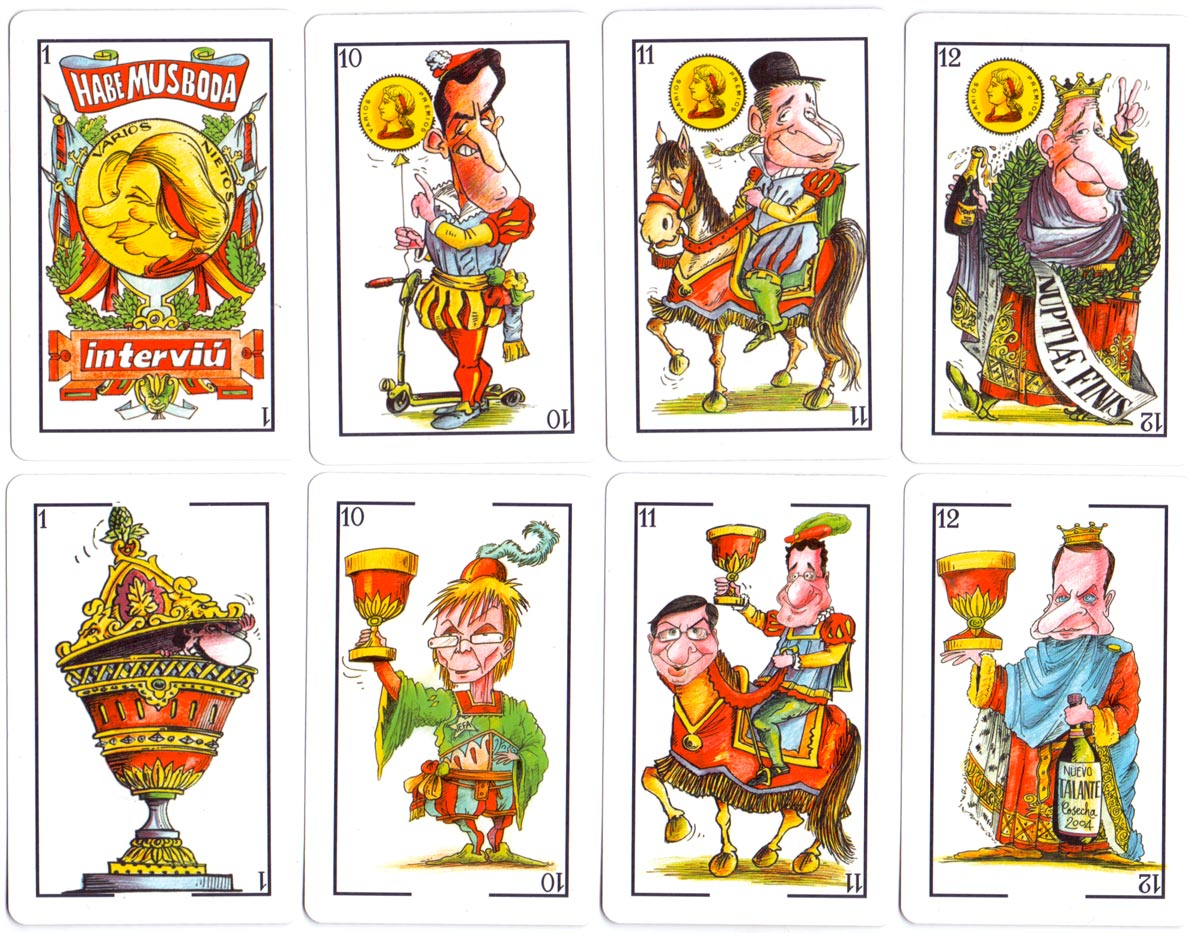 """Habemus Boda"" deck celebrating the royal wedding of Prince Felipe and Princess Letizia of Spain on 22 May 2004 with cartoons by Sir Cámara"