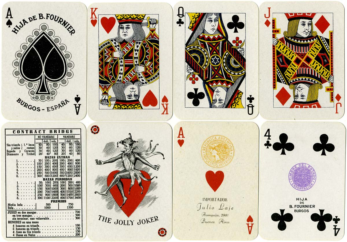 cards from a pack of 'No.4 A' Anglo-American style playing cards printed by Hija de B. Fournier, Burgos c.1940 for export to Argentina