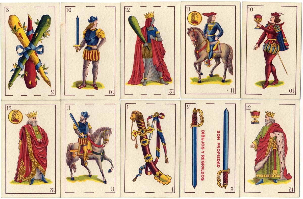 cards from a pack of 'Florete' playing cards printed lithographically by Hija de B. Fournier, Burgos c.1945 for export to Argentina