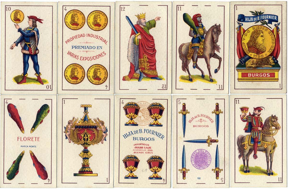 'Florete' playing cards produced by Hija de B. Fournier, Burgos c.1930