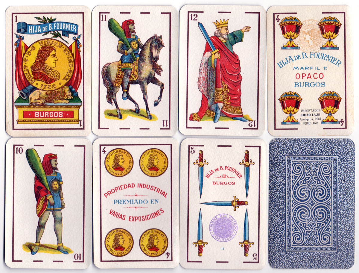 cards from a pack of 'Marfil 1ª' playing cards printed lithographically by Hija de B. Fournier, Burgos for export to Argentina, c.1945