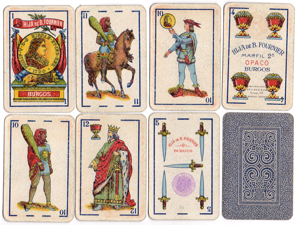 cards from a pack of 'Marfil 2ª' playing cards printed lithographically by Hija de B. Fournier, Burgos for export to Argentina, c.1940