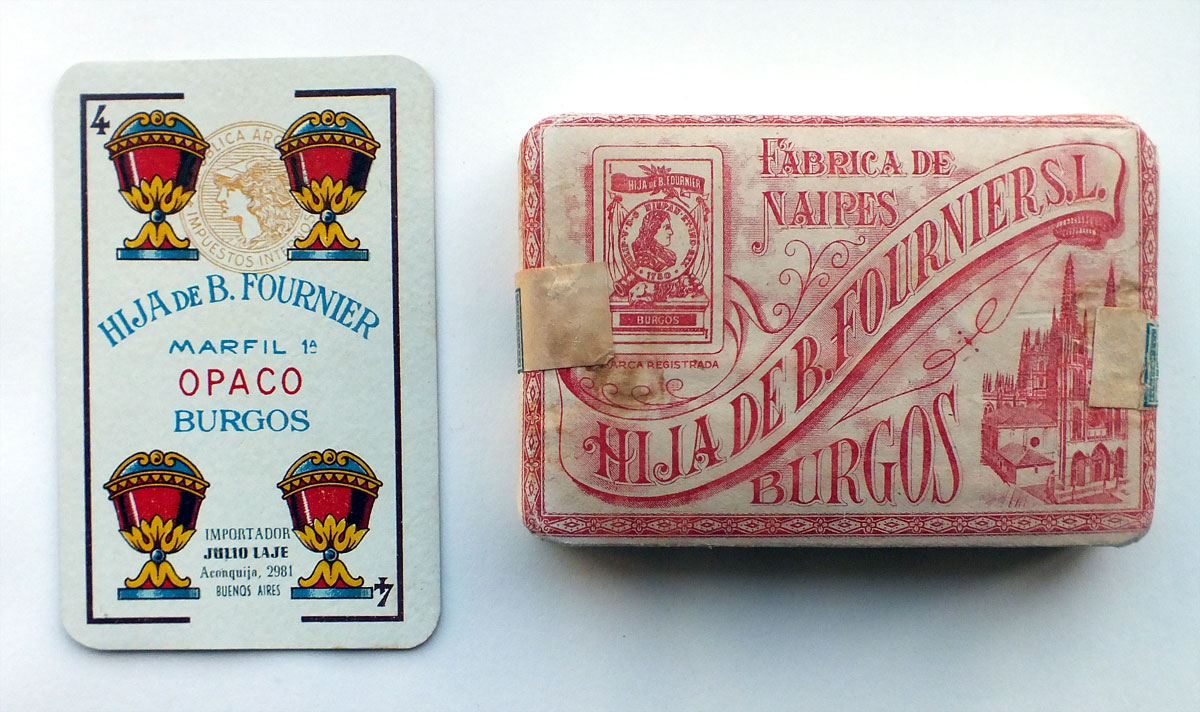 cards from a pack of 'Marfil 1ª' playing cards printed lithographically by Hija de