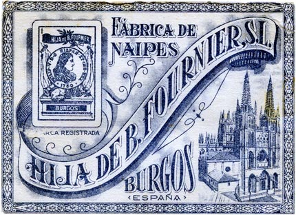 Hija de B. Fournier playing card wrapper showing Burgos cathedral and an ace of coins