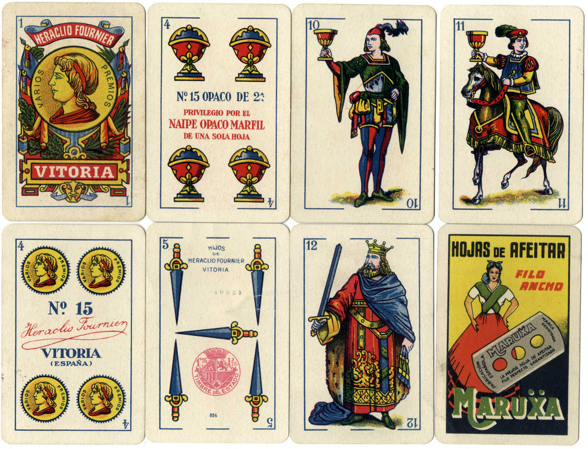 Naipe Opaco Marfil No.15 Spanish Castilian style playing cards made by Hijos de Heraclio Fournier for Maruẍa razor blades