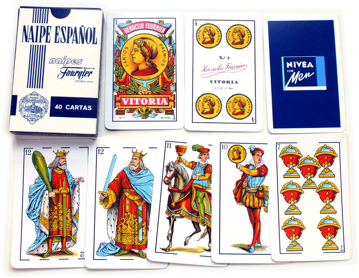 Naipes Fibra Marfil No.1 Spanish Castilian style playing cards made by Naipes Heraclio Fournier, Vitoria, Spain for Nivea