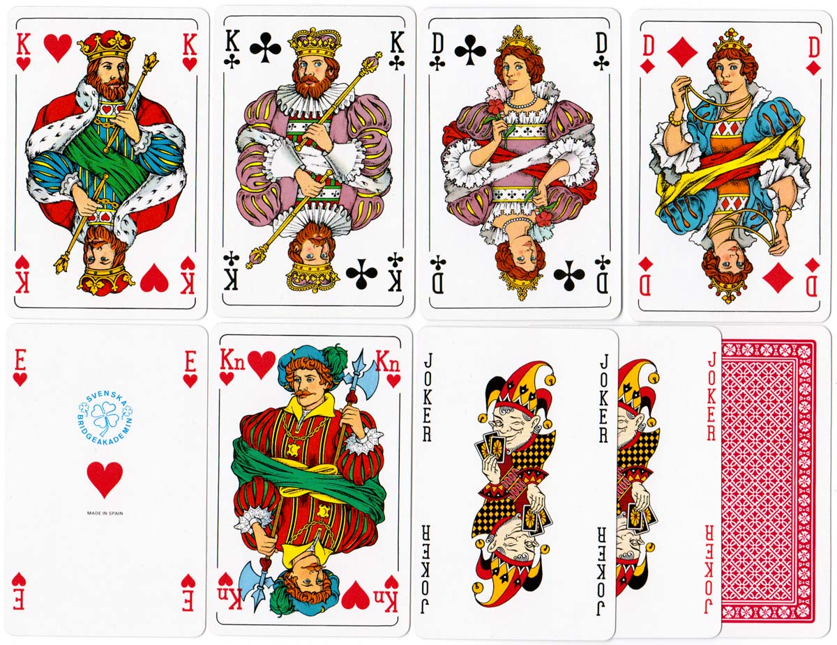 Standard Swedish playing cards manufactured for the Swedish market by Heráclio Fournier S.A., Spain, 1986
