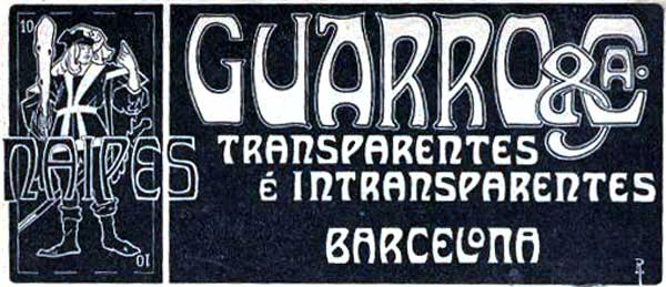 Guarro advert, 1908