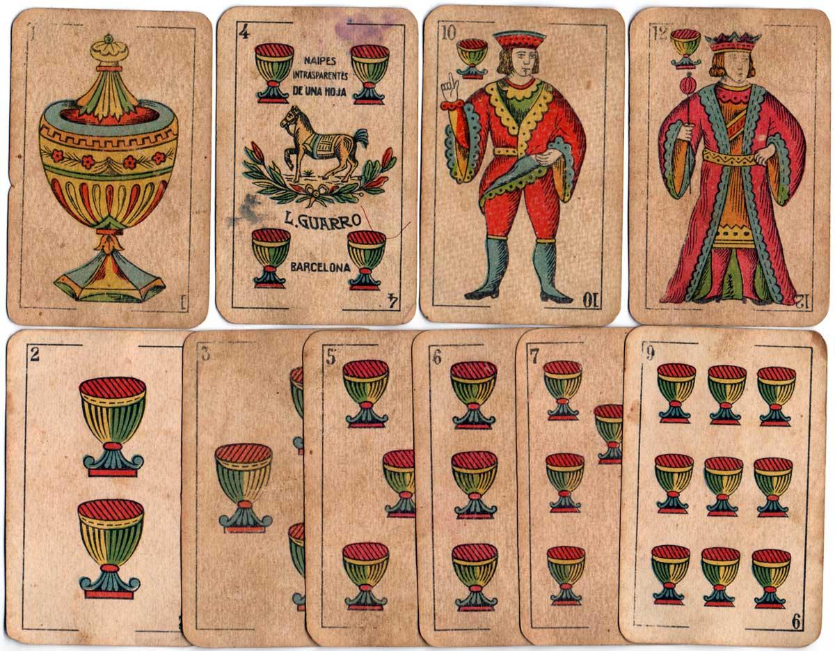 """Luis Guarro's """"El Caballo con Manta"""" Catalan pattern by Fabricantes de Naipes de España, c.1920"""
